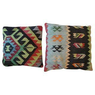 Vintage Kilim Accent Pillows on Chairish.com