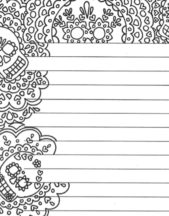 Day of the dead printable lined sugar skull stationery page, dia de