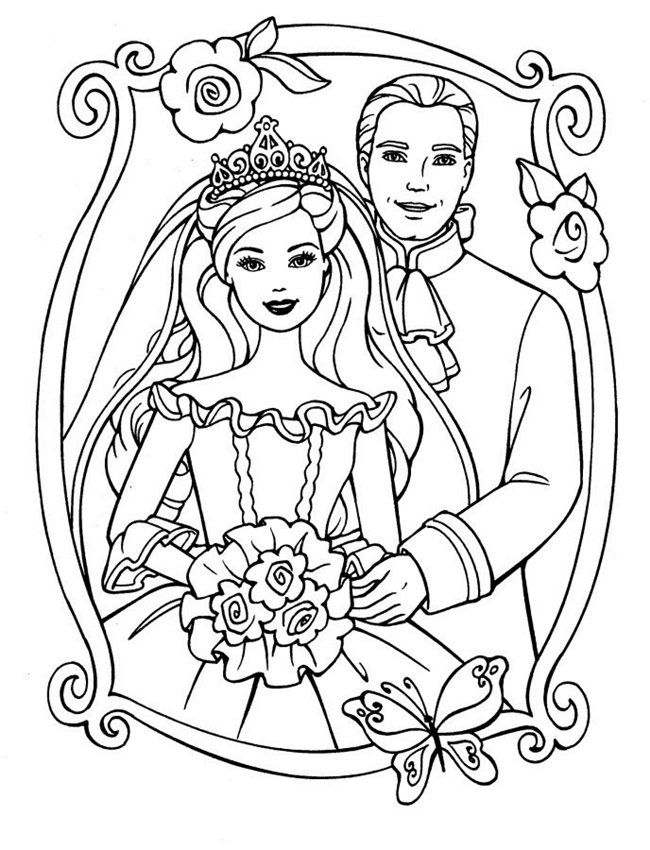 Photos Wedding Barbie Princess With Prince Coloring Kids
