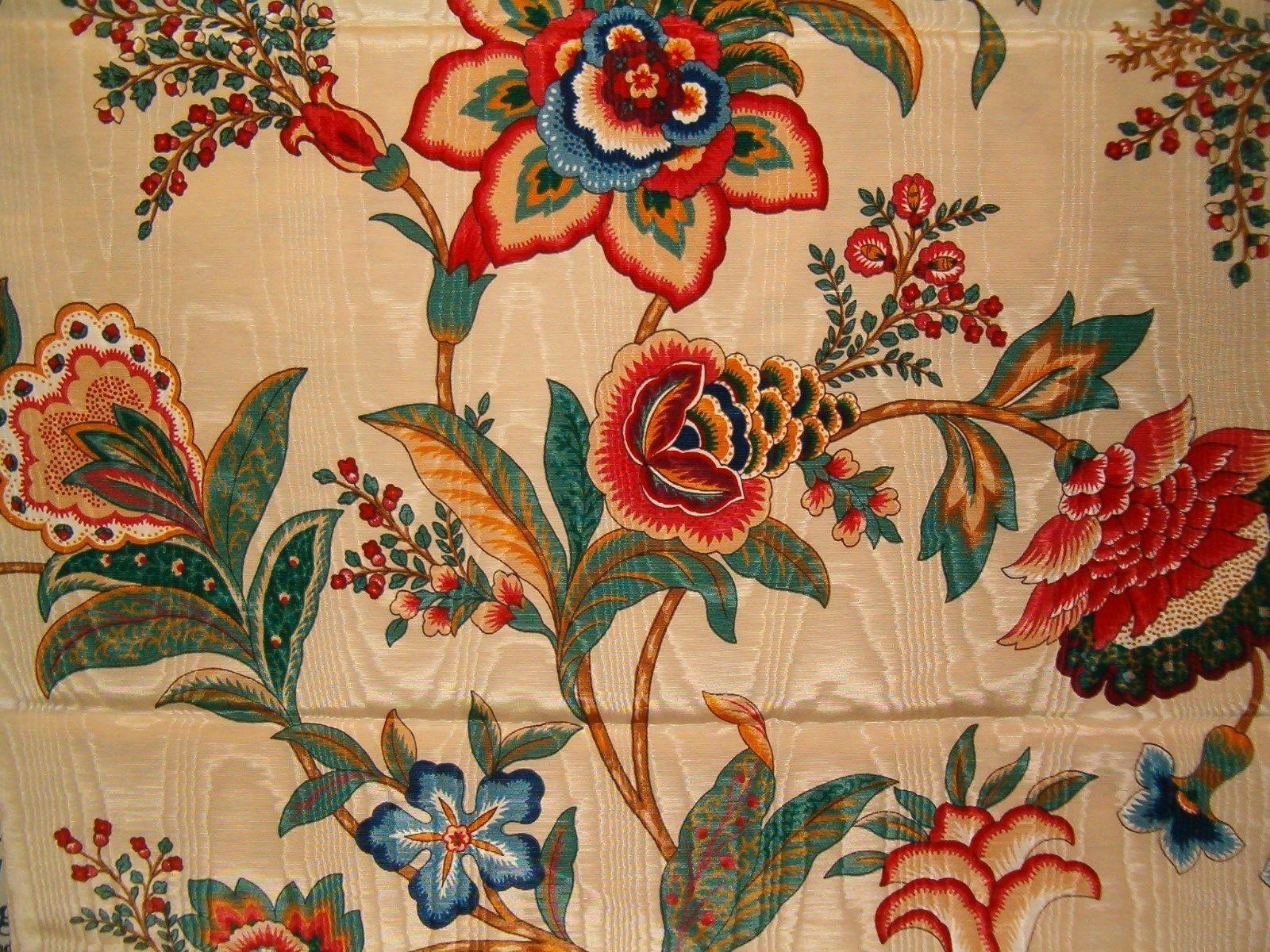 "Richloom Jacobean Floral Moire Home Decor Fabric 56"" Wide"