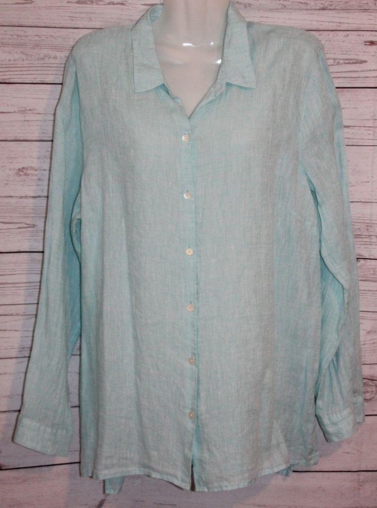 Details About J Jill Love Linen Womens Top Small Blue Button Up Long