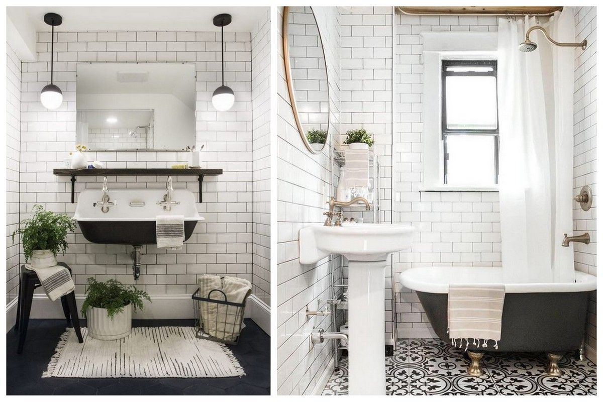 Le Style Retro Chic Fait Sont Retour En Salle De Bain Bathroom Design Small Bathroom Interior Small Bathroom
