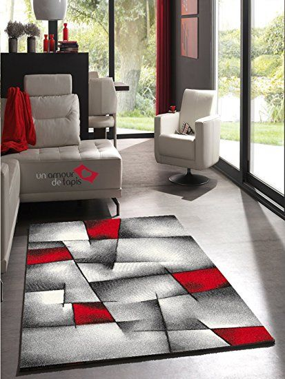 Un Amour De Tapis 30049 Brillance Ultimate Tapis De Salon Moderne Polypropylene Rouge 200 X 290 Cm Tapis Design Salon Decoration Salon Noir Tapis Design