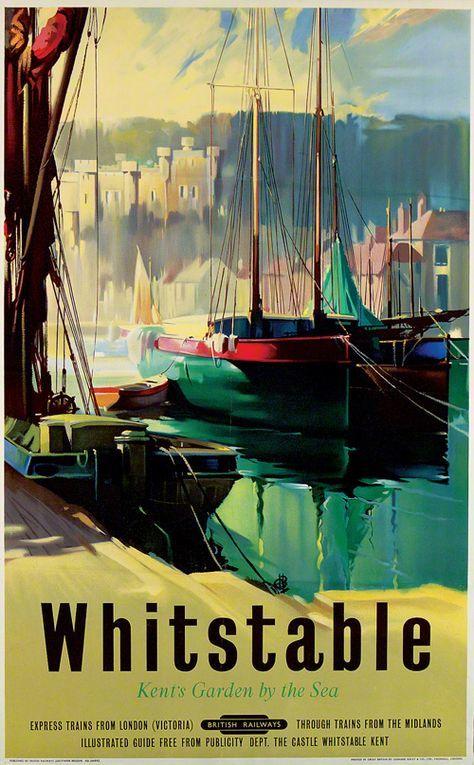 Whitstable Railway Old Advert Poster Seaside Kent Photo Beach Sea Holiday Print