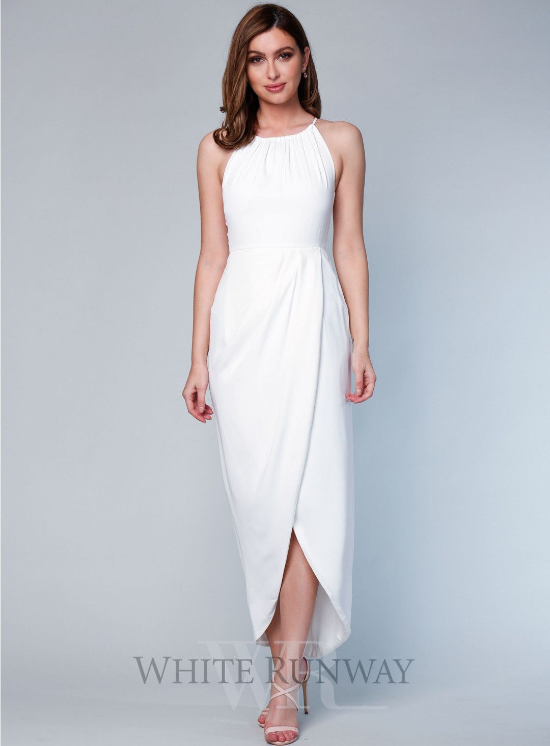 Core high neck ruched dress in wedding look pinterest