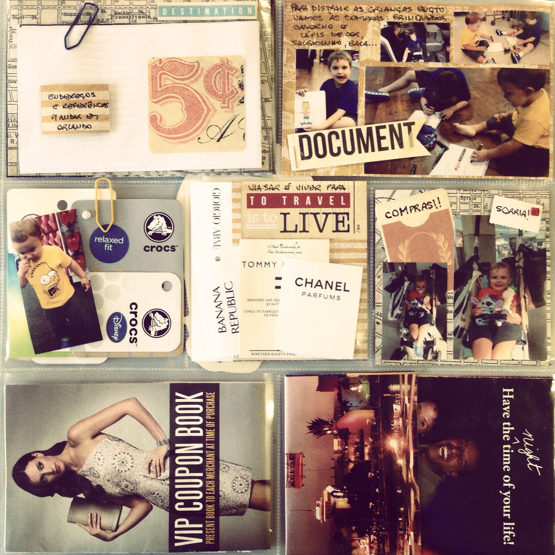 Album de viagem com recordações como o roteiro, mapas e tickets para guardar