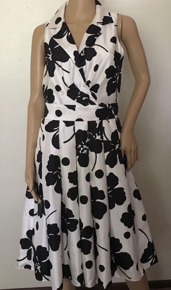 1837875084d6 Dressbarn White Black Floral Polka Dot Women's Size 10 Sundress ...