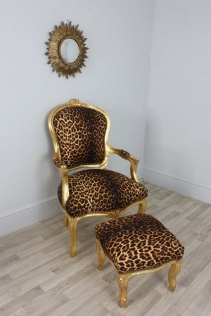 chair and matching stool es robbins mats louis gold leopard print style salon