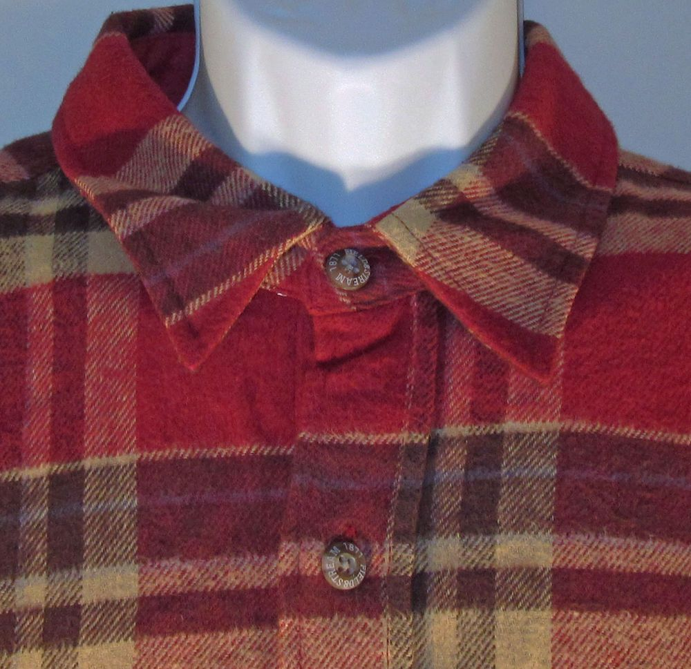 4609db51b Field   Stream Plaid Flannel Shirt XL Lumberjack 100% Cotton Red Brown 54  in  FieldStream  ButtonFront