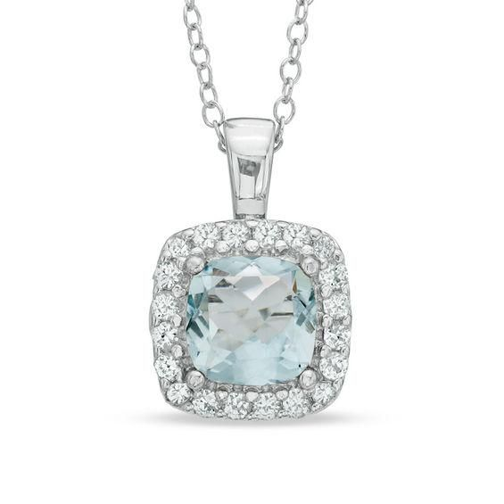 Zales 7.0mm Cushion-Cut Lab-Created Aquamarine and White Sapphire Pendant in Sterling Silver wpGPrHXcJS