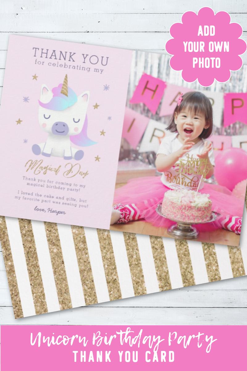 Unicorn Birthday Thank You Photo Card Zazzle Com Birthday Thank You Cards Birthday Thank You Thank You Card Wording