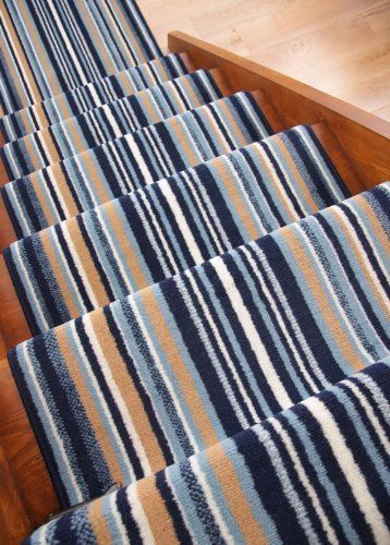 Best Lima Navy Blue Beige Modern Stripe Stair Carpet Runner Rug 400 x 300