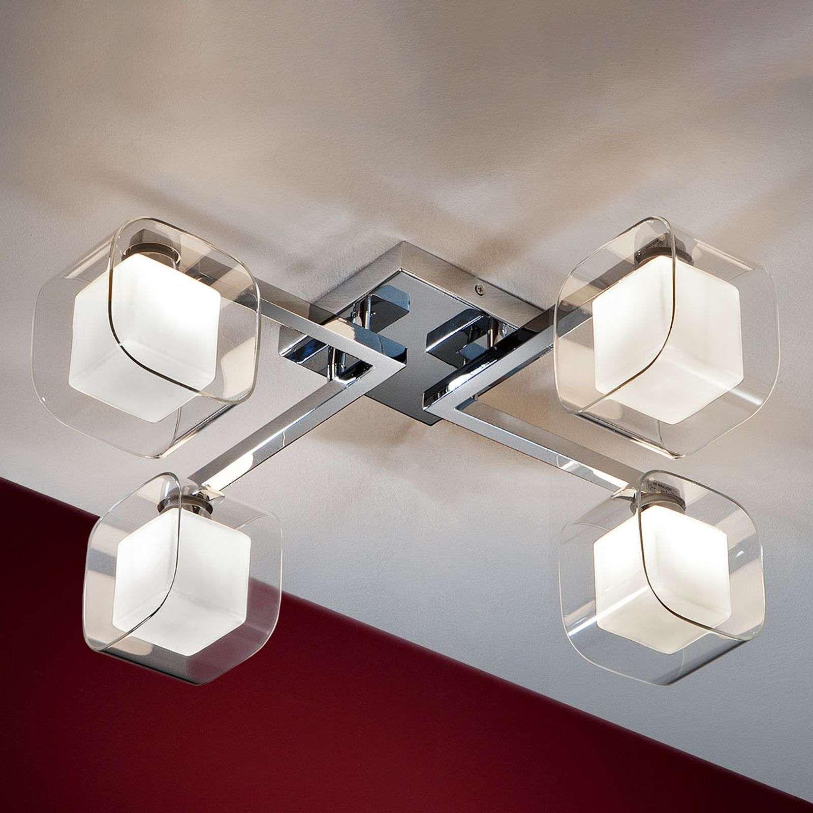 Cube Led Deckenleuchte Mit Vier Doppelschirmen In 2020 Led Deckenleuchte Led Und Led Deckenlampen