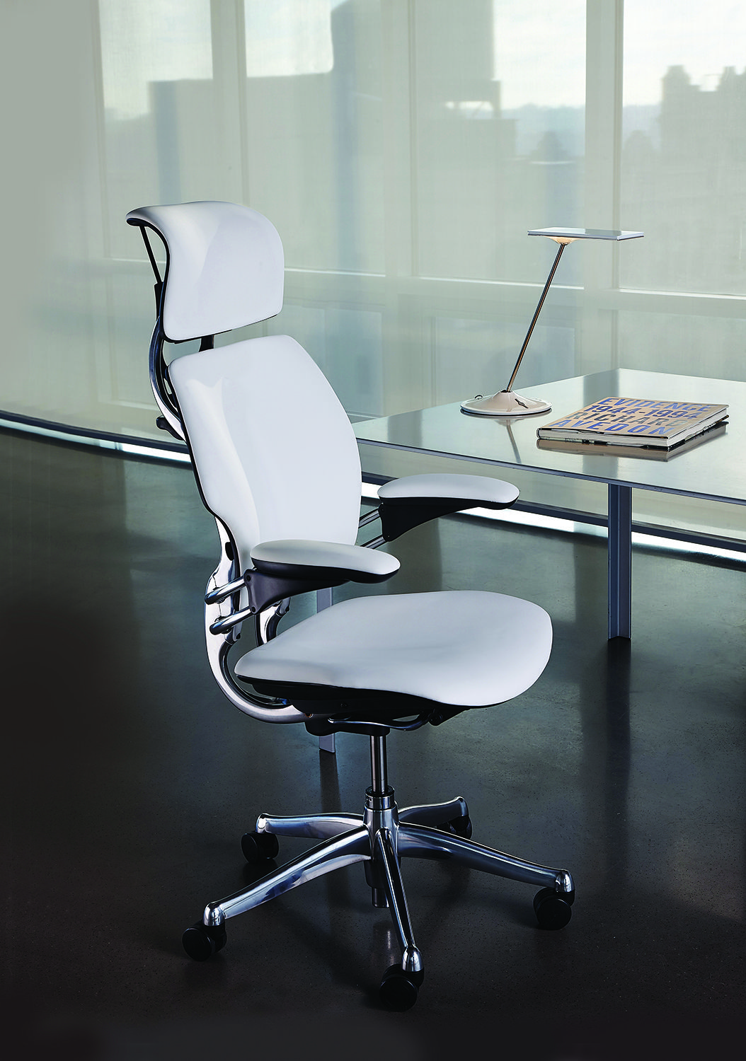 White Leather Modern Task Chair For Your Home Office Or Workspace The Ultimate In Luxury Is Humanscale Freedom Headrest Chair Work Chair Task Chair