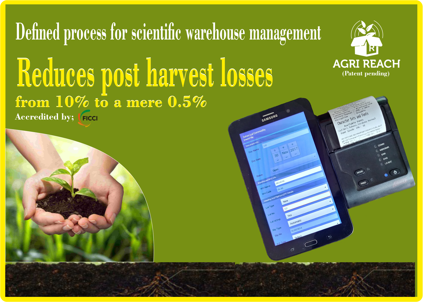 Our Proprietary Technology Agri Reach Has The Potential To Reduce Post Harvest Losses From The Present 10 To A Mere 0 5 Warehouse Management Harvest Agri