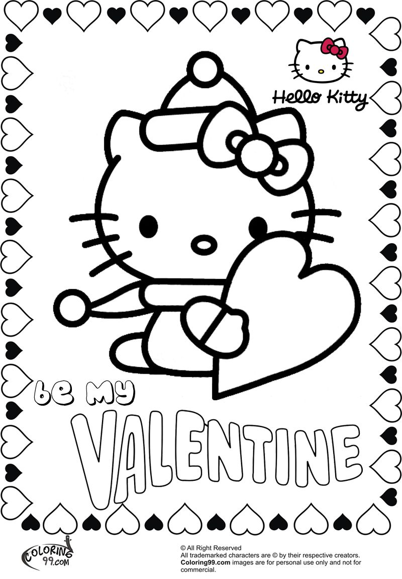 Hello kitty be my valentine coloring pages