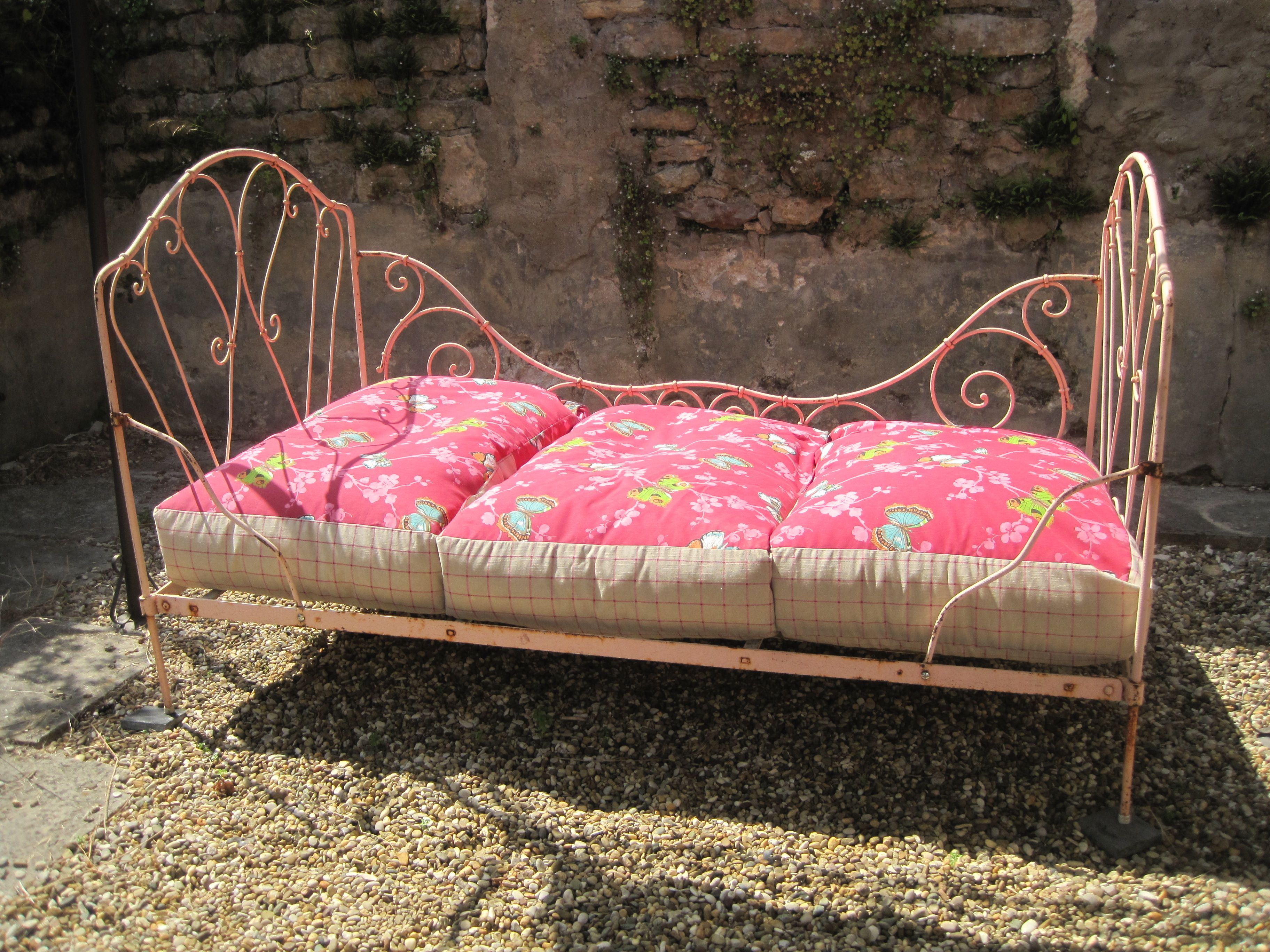 Shabby Chic French Wrought Iron Daybed With Bean Bag Cushions