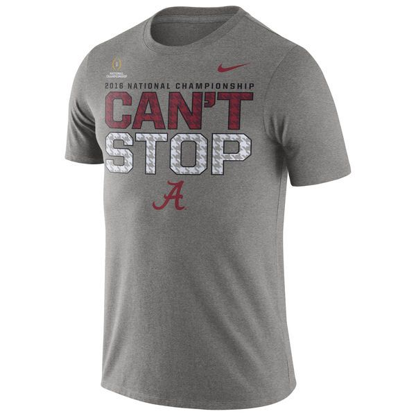 Nike Alabama Crimson Tide Gray 2016 College Football Playoff National  Championship Game Bound Can't Stop Legend Performance T-Shirt