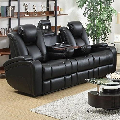 Power Sofa With Built In Gadgets Include Power Headrests Hidden Led Lights Drop Down Backrest With Cup Holders And Pop Up Wire Management Leather Reclining Sofa Leather Sofa And Loveseat Sofa Set Black leather sofa and loveseat