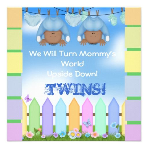 BABY SHOWER AFRICAN AMERICAN TWIN BOYS PERSONALIZED INVITE