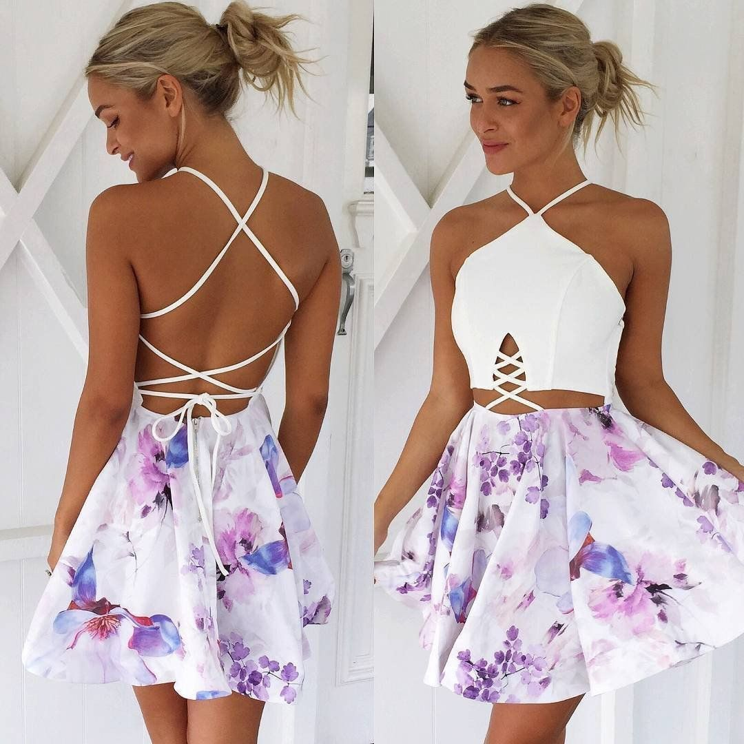 Strap backless print sleeveless short dress shorts prom and printing