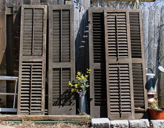 antique louvered shutters with original hardware rustic home decor shabby chic window decor wooden exterior shutters architectural salvage