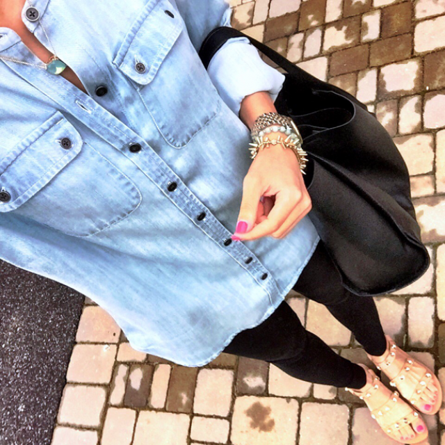 IG @mrscasual <click through to shop this look> loft soft chambray top. Jcrew leggings. Jeweled sandals. Black tote bag.