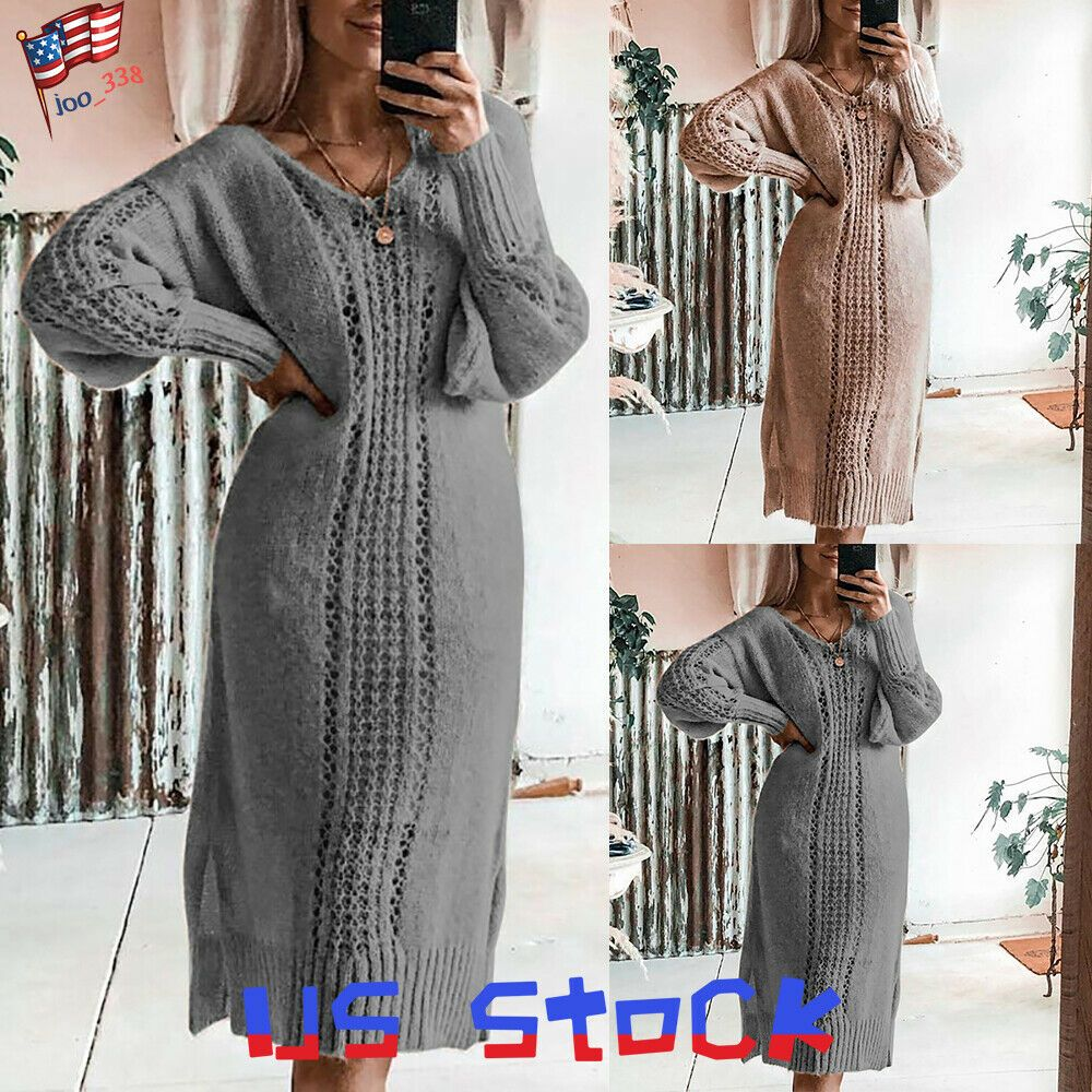 WNSY Women Thickened Solid Pullover Knitted Turtleneck Dress