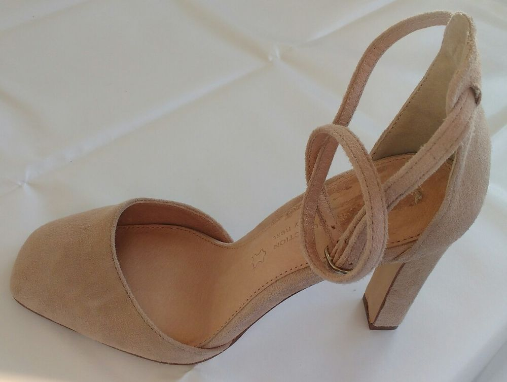 a31aa066426 Womens Ladies Next Leather Beige Suede Sandals Shoes Size 5 38 New