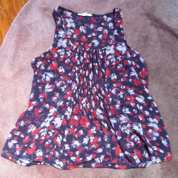 Floral Purple Sleeveless Blouse Worn once no damages like new condition, sleeveless tank style, front panel pleating detail, size xs brand Lush from nordstrom BP, colors dark grey purple coral cream royal blue, 100% polyester Lush Tops Blouses