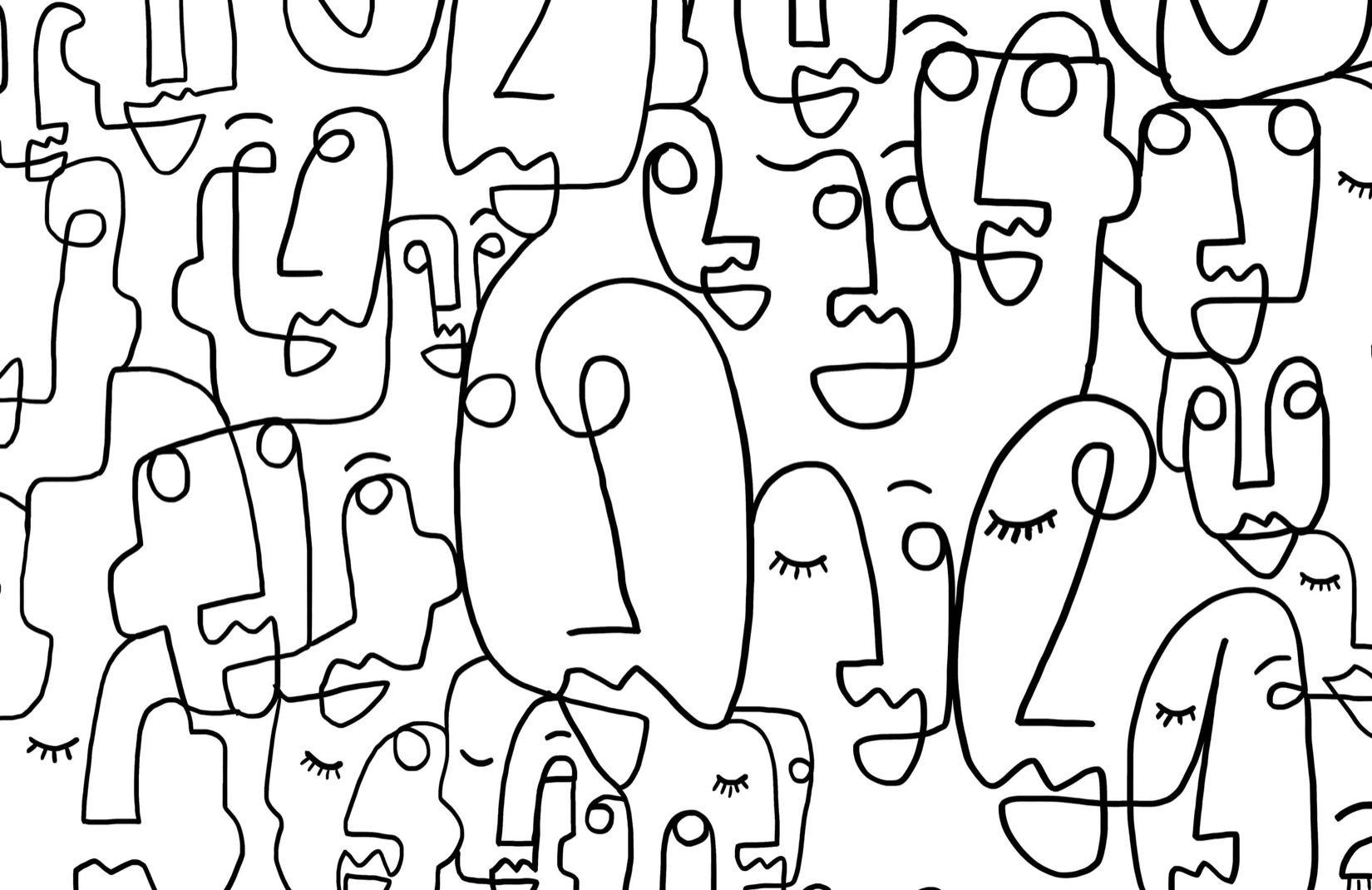 Large Face Line Drawing Wallpaper Mural | Murals Wallpaper