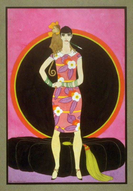 Woman dressed in the style of mid-20s. Mac Harshberger, A History of Costumes, 1928-32. Watercolor. USA. Via FAMSF