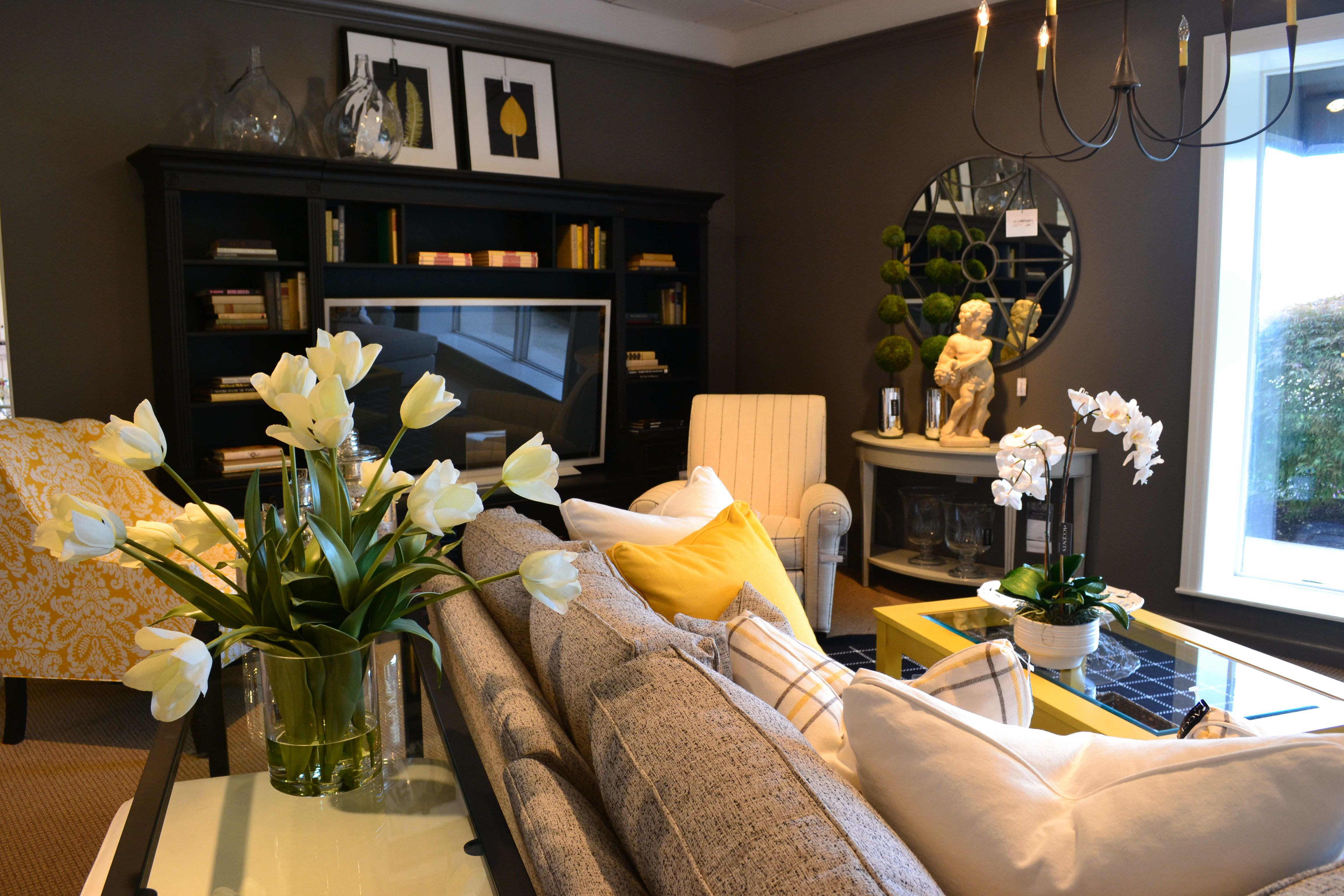 Ethan Allen Design Center Featuring A Black, Gray And Yellow Color Palette.  Retreat Sectional