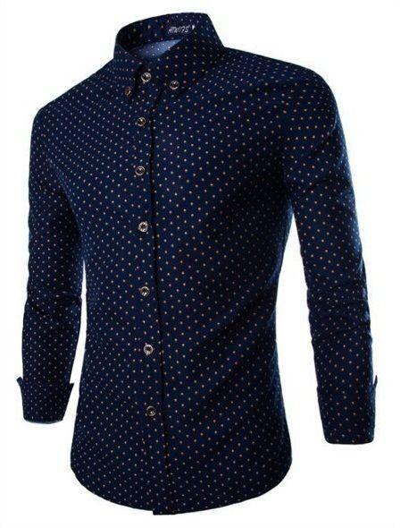 4658e62687 Camisa Masculina Estampa Miúda - Azul Marinho - MANDORAS. Camisa Masculina  Estampa Miúda - Azul Marinho - MANDORAS Vestido De Manga Comprida, Camisas  Com