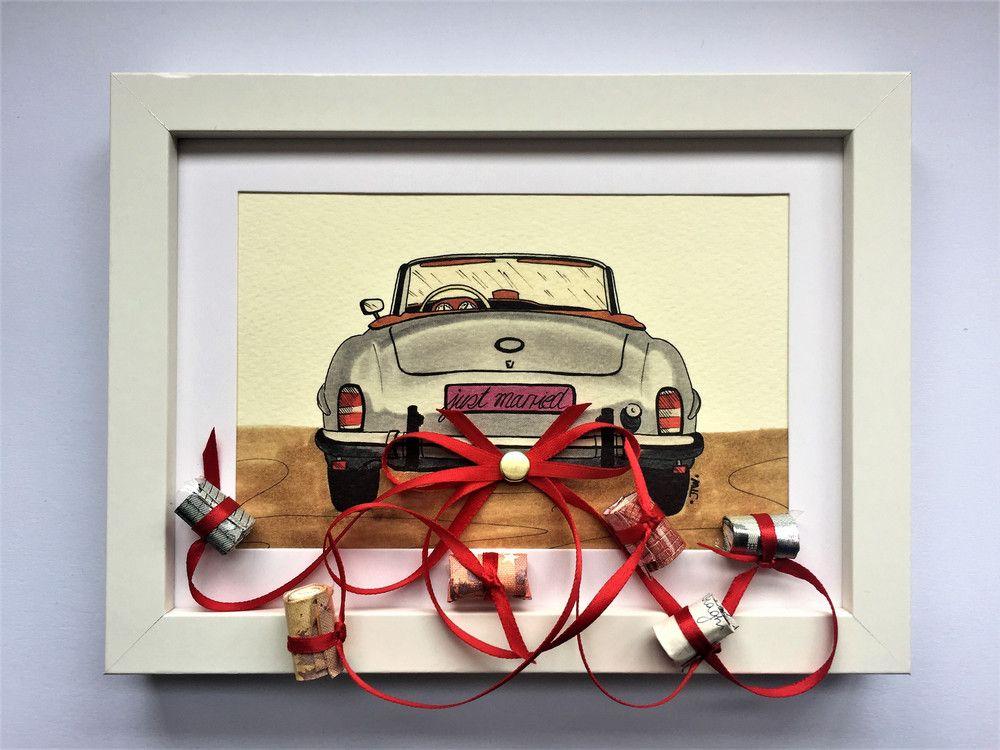 Hochzeitsgeschenk Auto Bilderrahmen Geldgeschenk Basteln Wedding