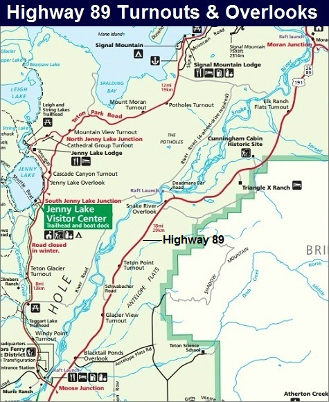 Highway 89 Map Grand Teton National Park Map WYOMING BEEN THERE