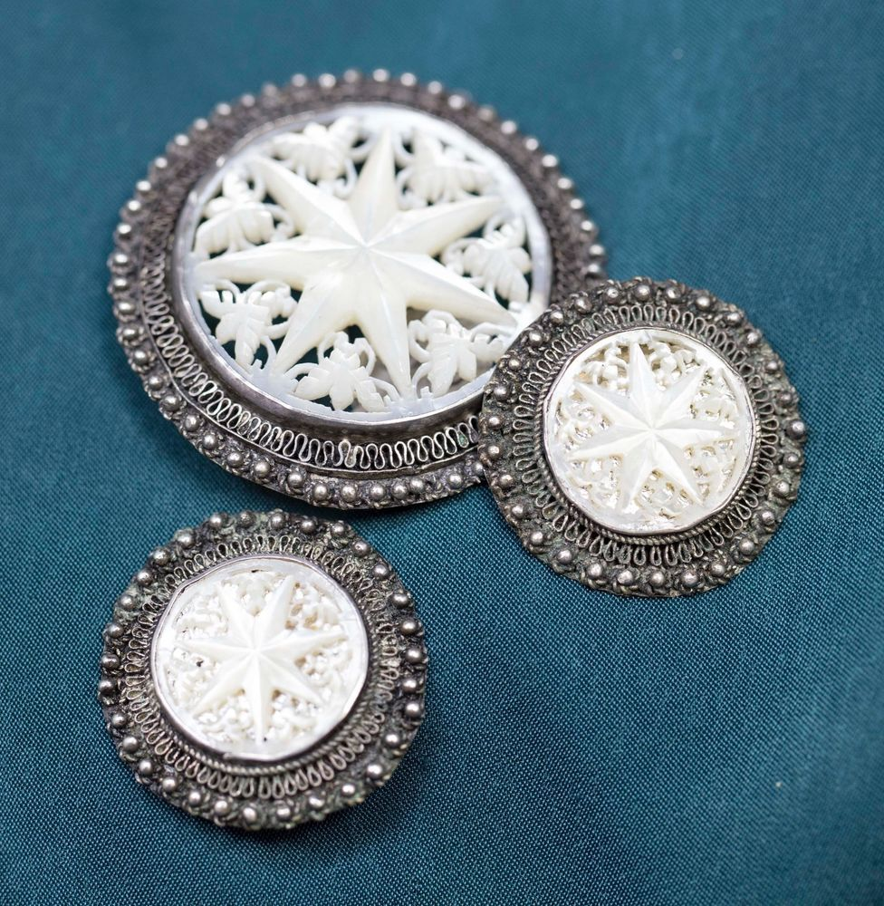 Carved Mother of Pearl Jerusalem Star Earrings and Brooch/Pin Set  | eBay