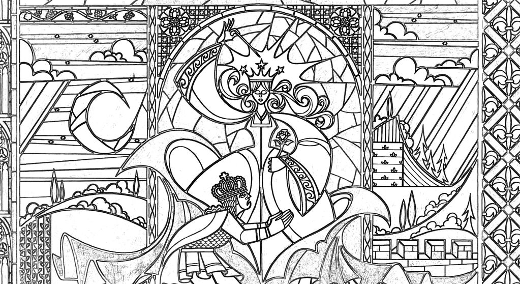 Stained Glass Coloring Pages Castle Coloring Page Coloring