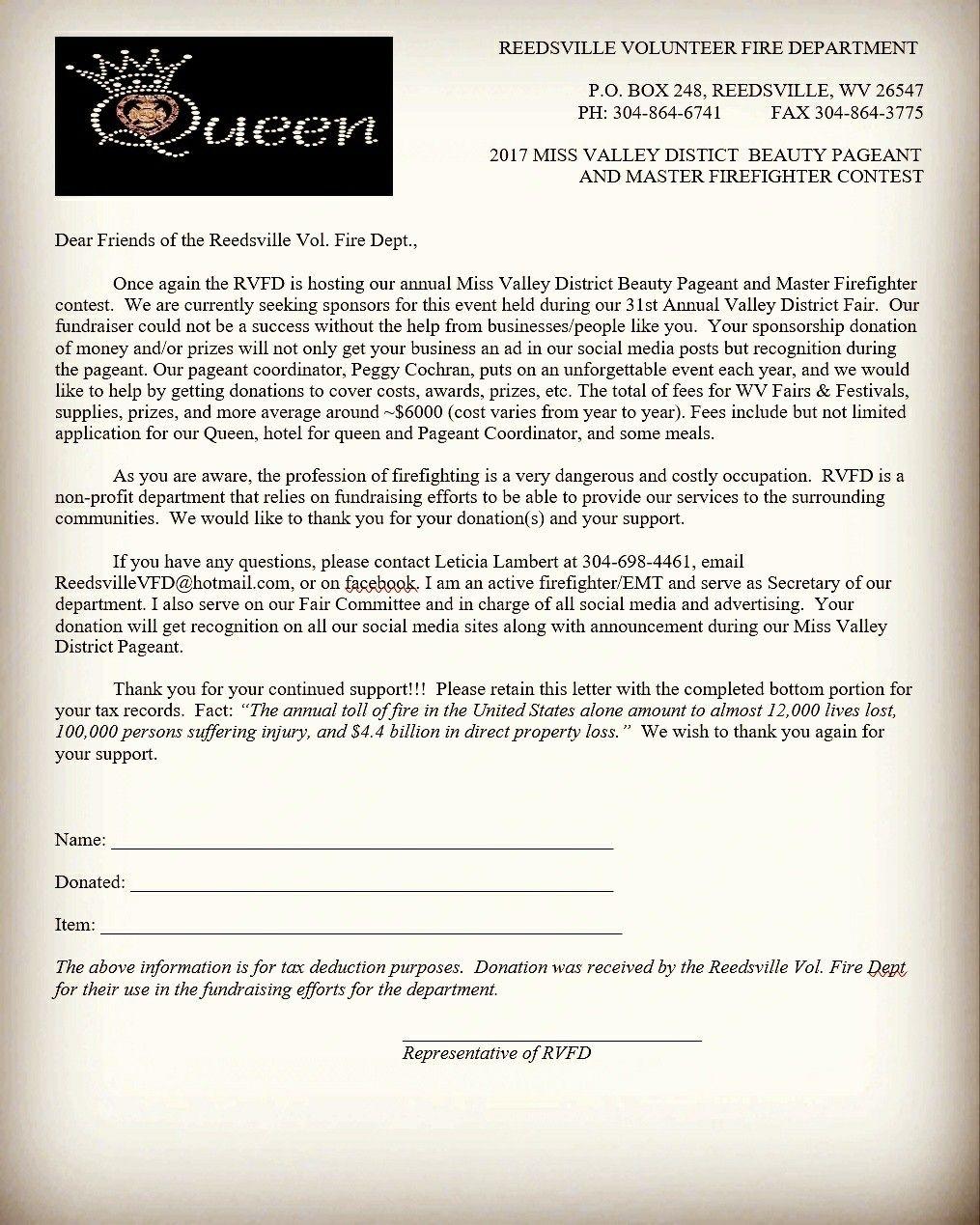 Sponsorship Form  Reedsville Vfd