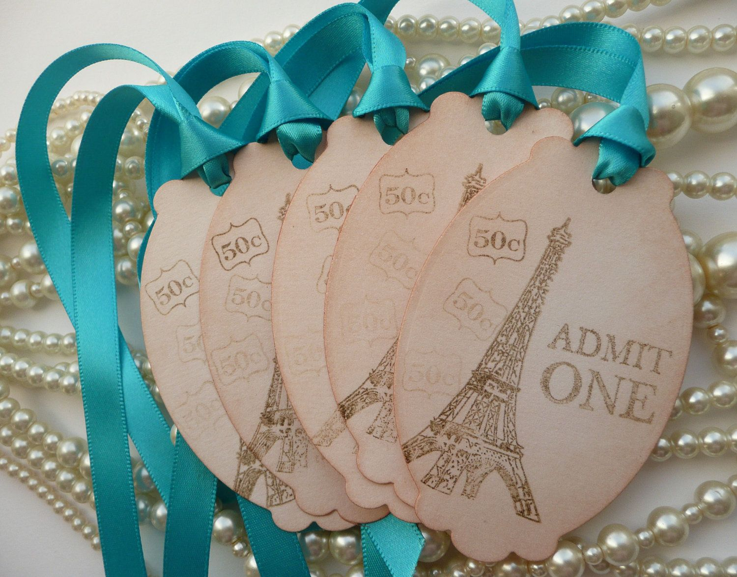 Wedding Favor Tags Breakfast Tiffanys - Paris 5 Large