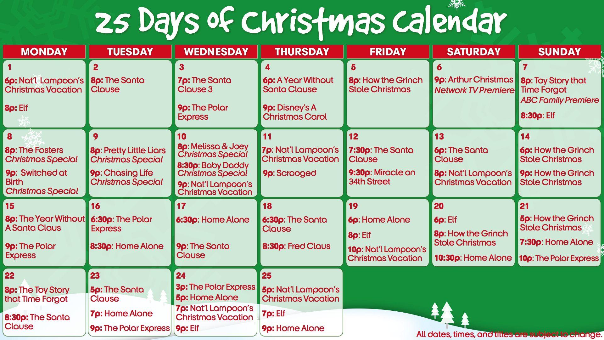 Abc Family 25 Days Of Christmas Calendar 2014 25 Days Of Christmas