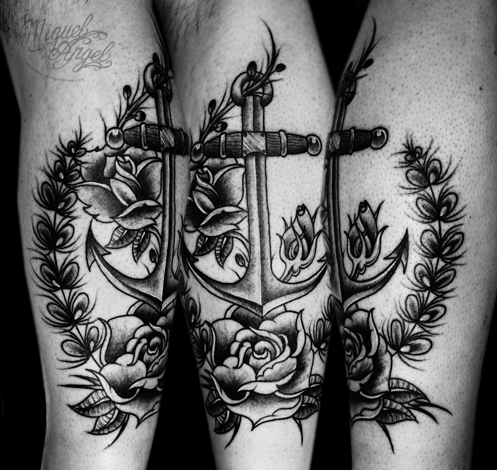 Old school anchor and roses custom tattoo Anchor tattoo