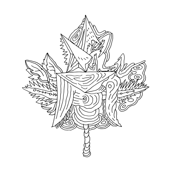 Canadian Maple Leaf Colouring Page with Abstract Drawing in Mind ...