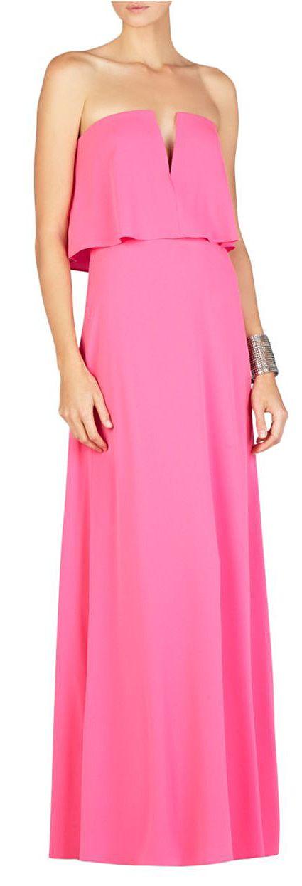 Bcbgmaxazria Alyse Strapless Popover Gown Neon Pink