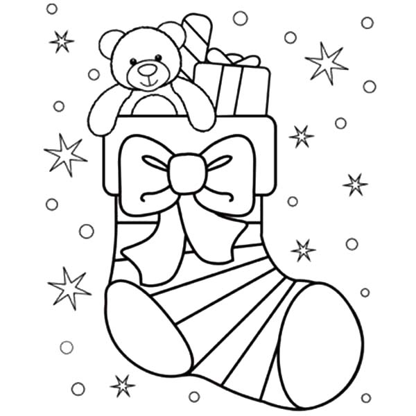 Little Teddy Bear In Christmas Stockings Coloring Pages Netart Di 2020