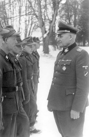 Latvian Officer with Latvian SS volunteers.