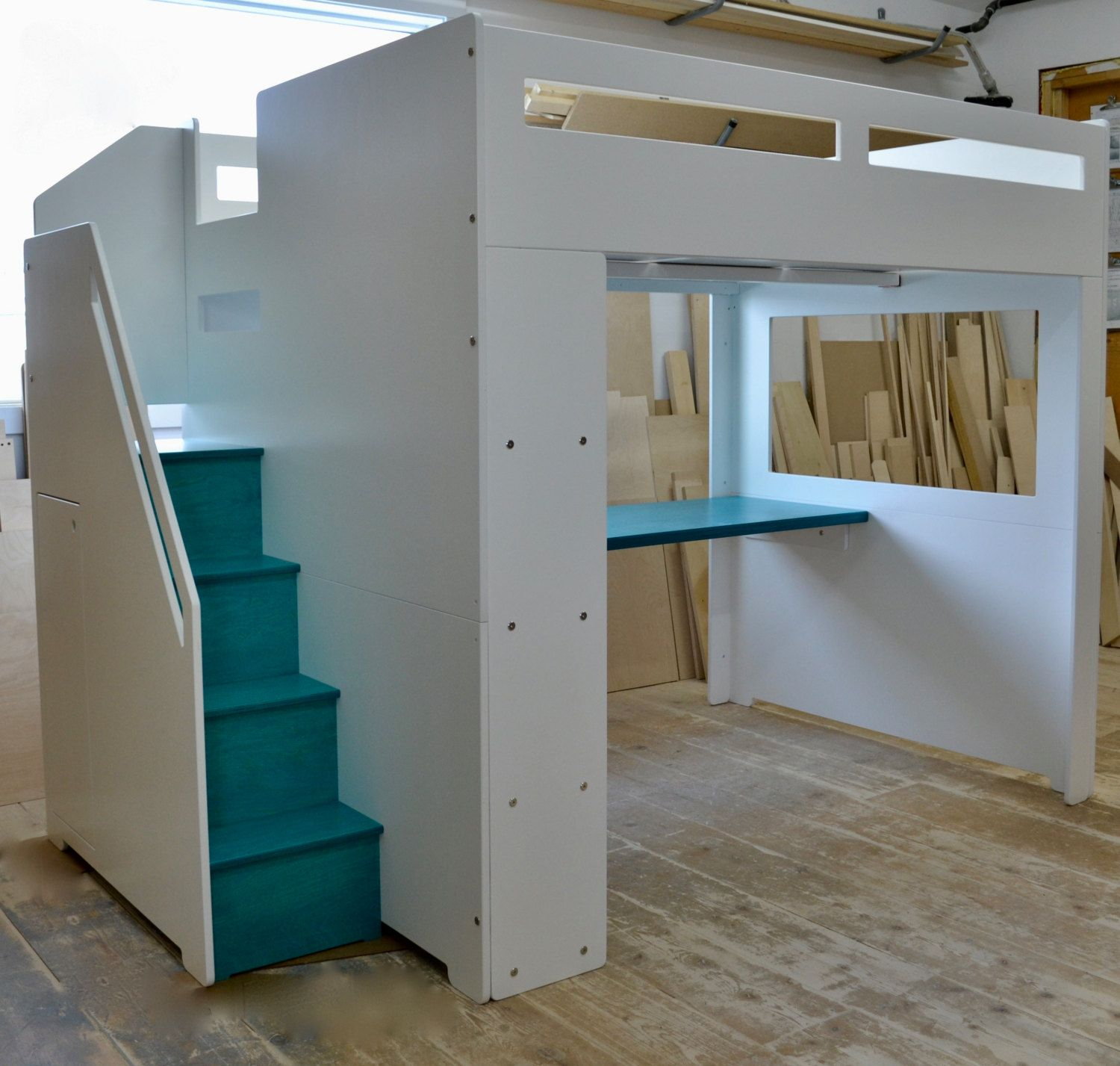 Modern Loft Bed With Storage For Full Size Mattress Modern Loft