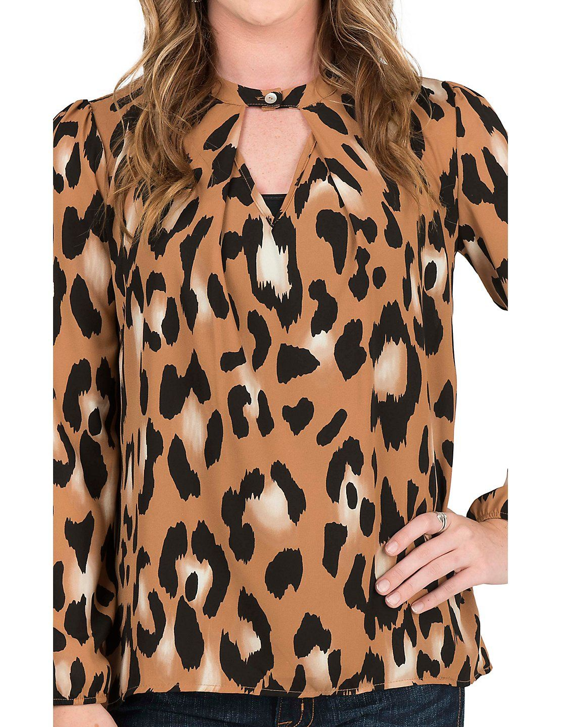 Peach Love Women's Brown and Black Leopard Print with Keyhole and Long Cinched Sleeve Fashion Top | Cavender's