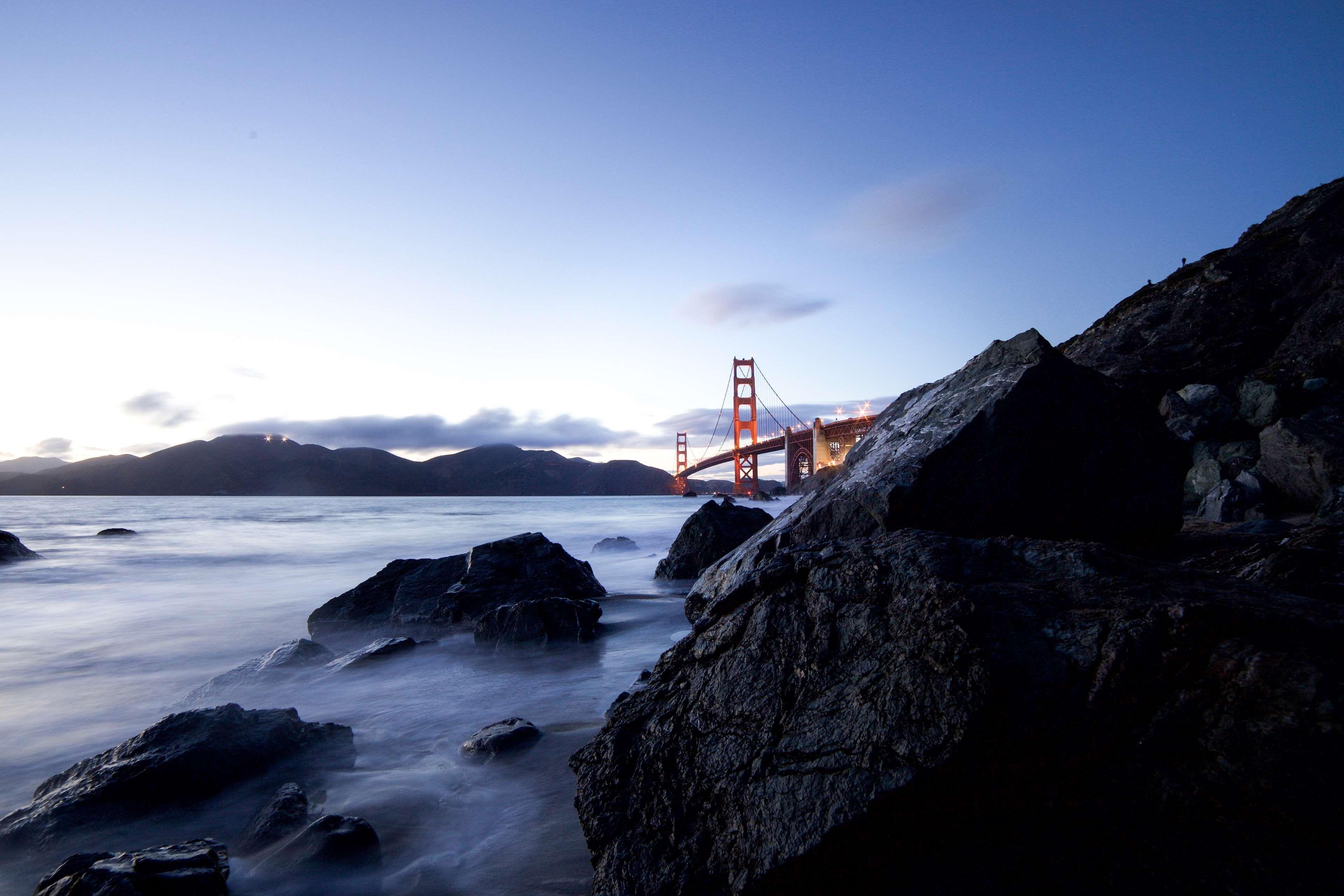 Coast Golden Gate Bridge Mountains Nature Ocean Rocks San Francisco Sea Sky Suspension Bridge Water Scenic Photos Take Better Photos Mountain Photos Golden gate bridge sea coast rocks