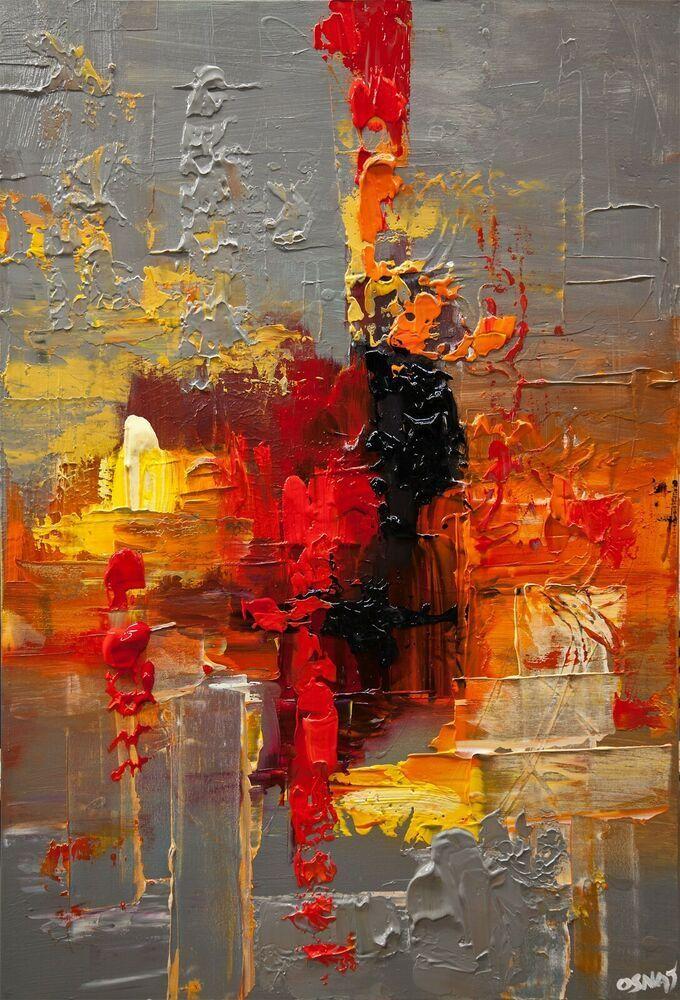 peinture abstraite moderne originale texturee sur toile rouge gris par Osnat